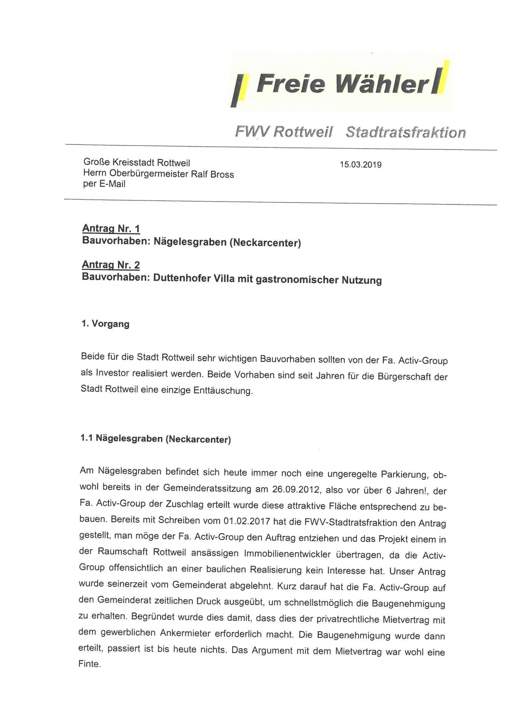 """Antrag auf Rückgabe """"Neckarcenter"""" und """"Villa Duttenhofer"""" an die Stadt Rottweil"""
